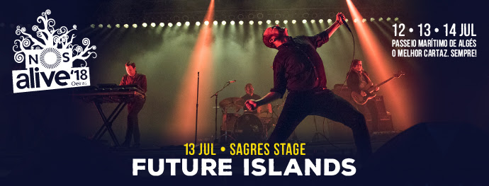 Future Islands ao vivo no palco Sagres do NOS Alive em 2018